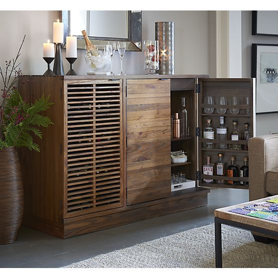 Marin Large Bar/Media Cabinet I Crate and Barrel | Home Bar ...