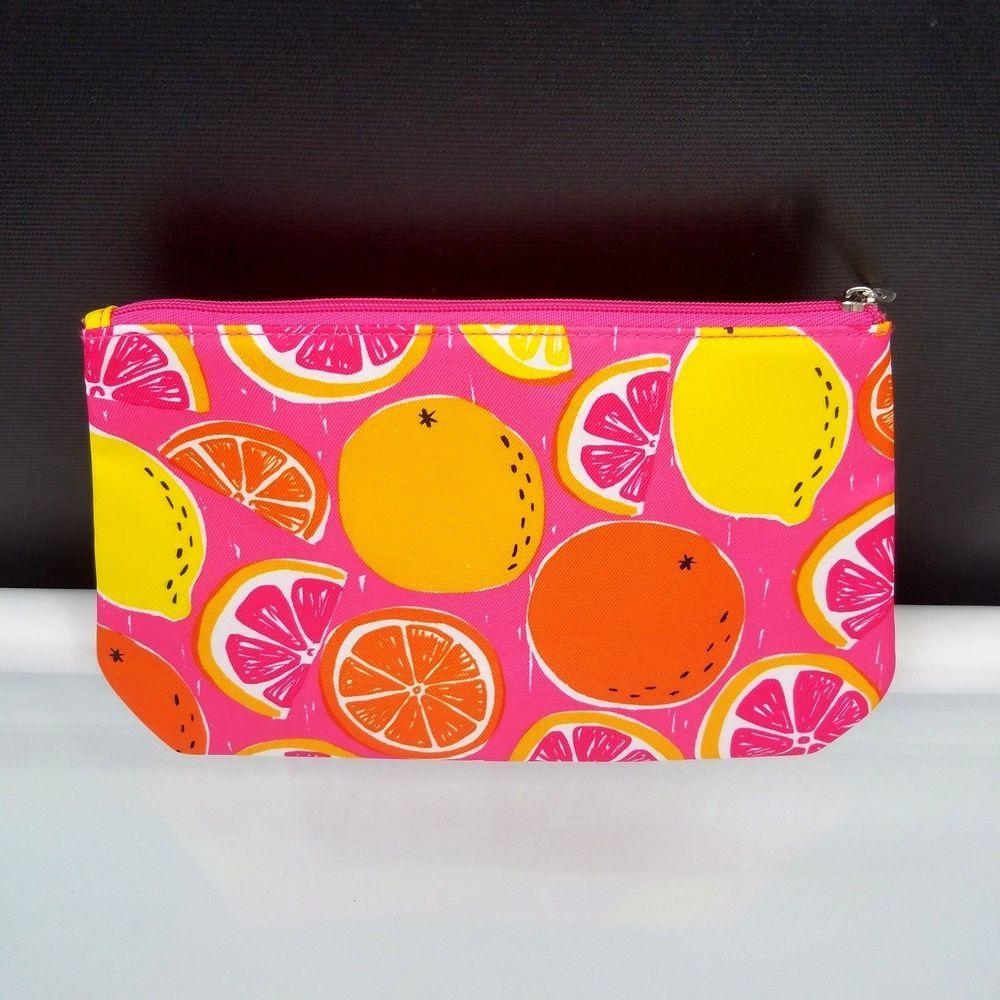 Citrus Fruit Clinique Make Up Bag Cosmetic Pouch Pink