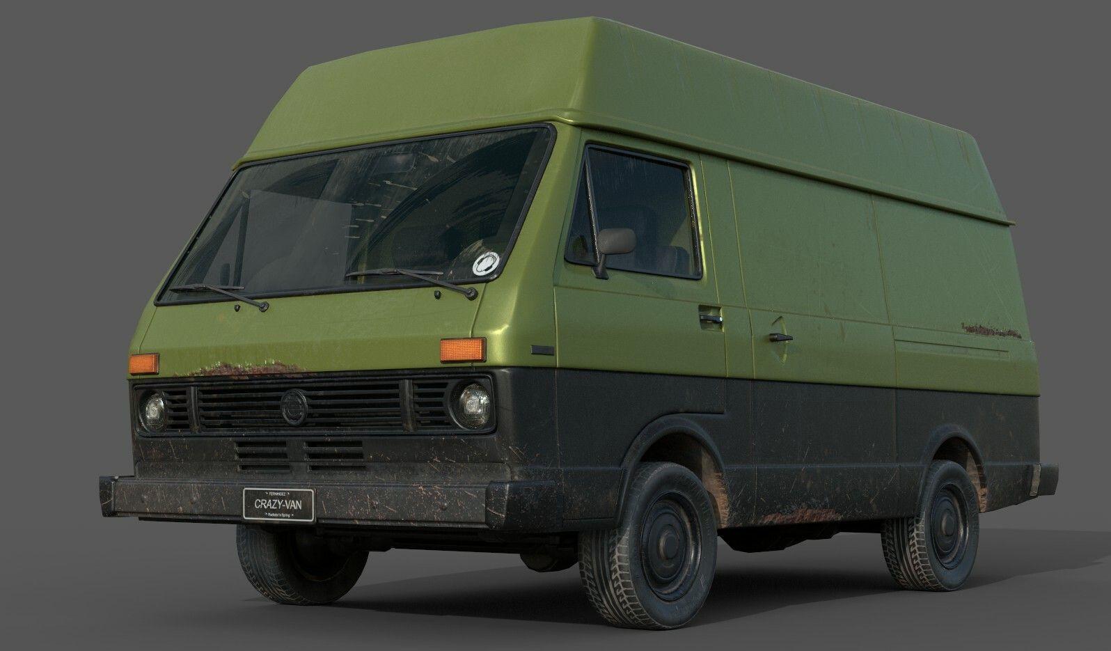 Artstation Vw Lt Van 1976 Lowpoly Raul Fernandez In 2020 Van Chevrolet Astro Volkswagen Vans