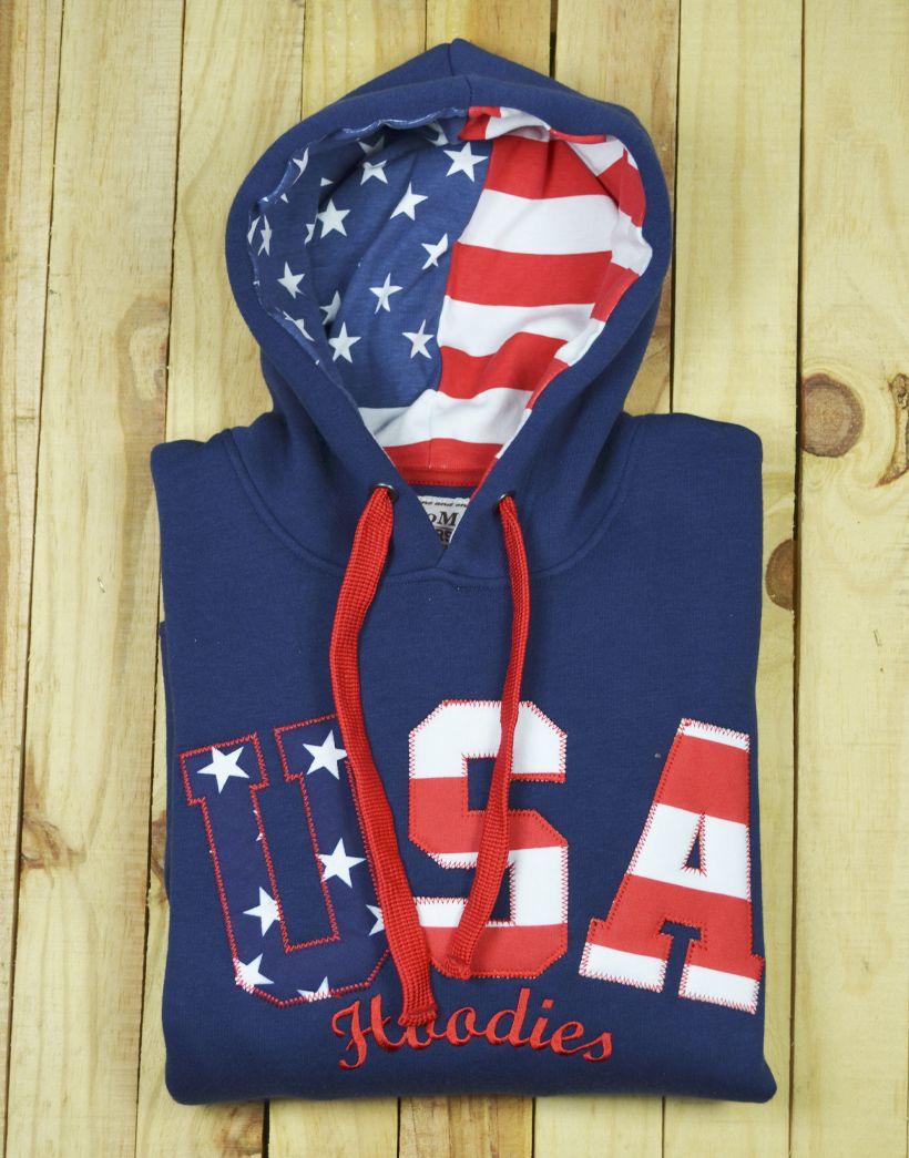 Sudadera con bandera americana en capucha y bordado en pecho ... ff2f785c952