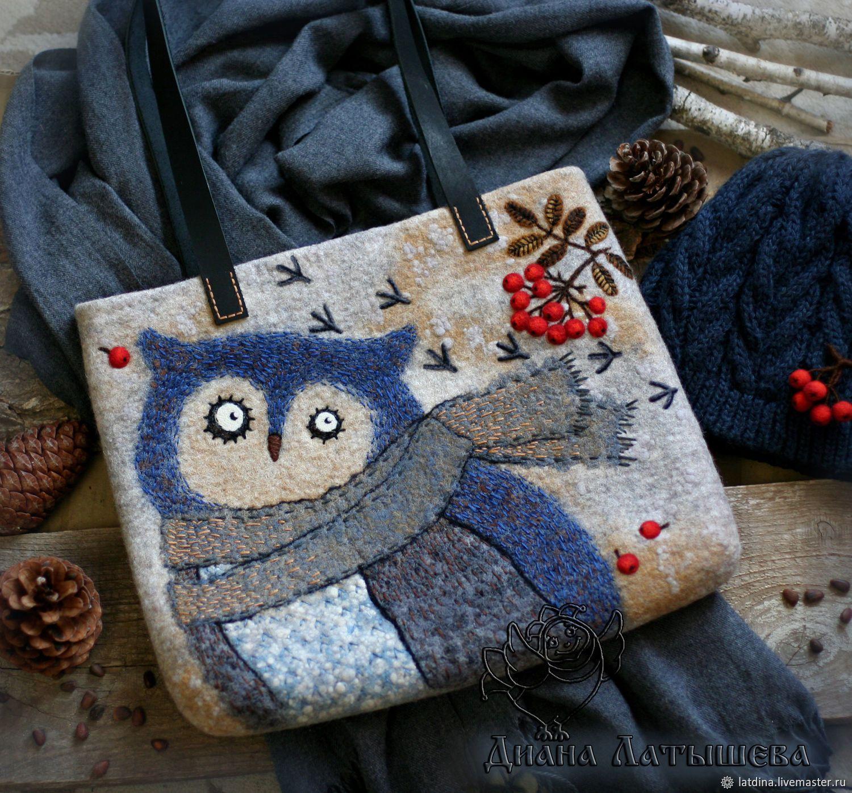 0d9fdb7f2d20 Женские сумки ручной работы. Ярмарка Мастеров - ручная работа. Купить  Войлочная сумка 'Сова'. Handmade. Красный, валяная сумка