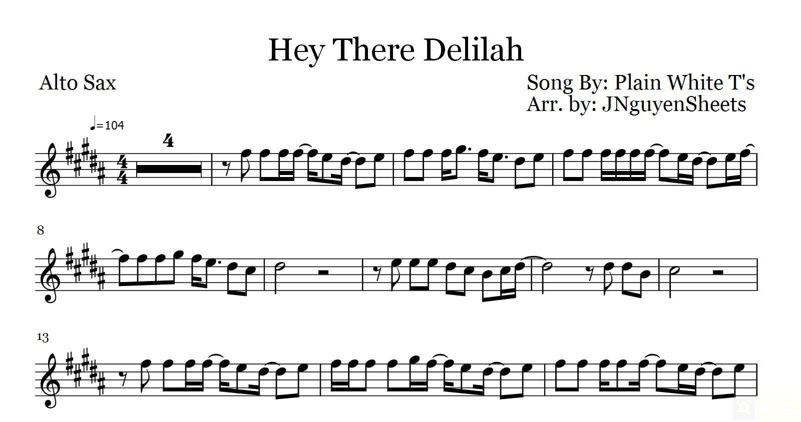 Hey there delilah plain white ts saxophone sheet music