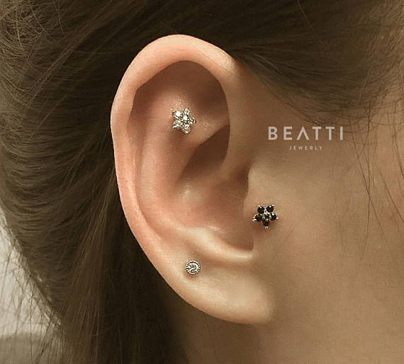 Sparkly Flower Cartilage Earring Piercing Tragus Stud Cz Piercing