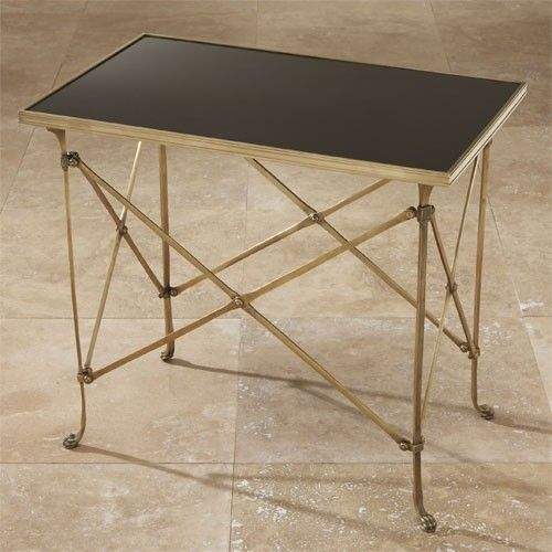 Global Views Rectangular Directoire Table in Brass with Black