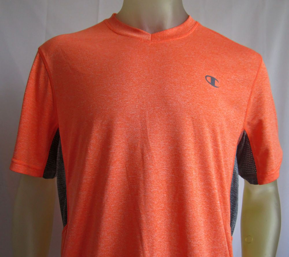 Champion Mens Vapor PowerTrain Short Sleeve Colorblock T Shirt Orange Large  #Champion #BasicTee