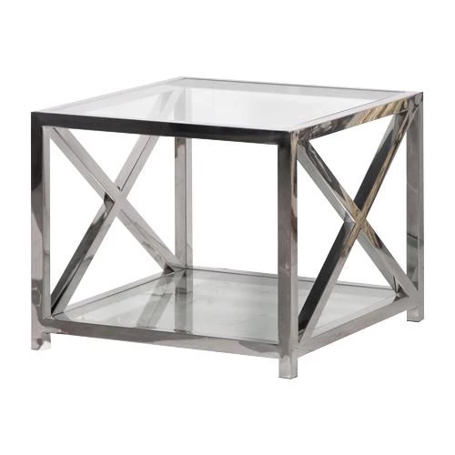 Boston Solid Stainless Steel Glass Criss Cross Side Table Glass Side Tables Coffee Table Rectangle Glass Furniture