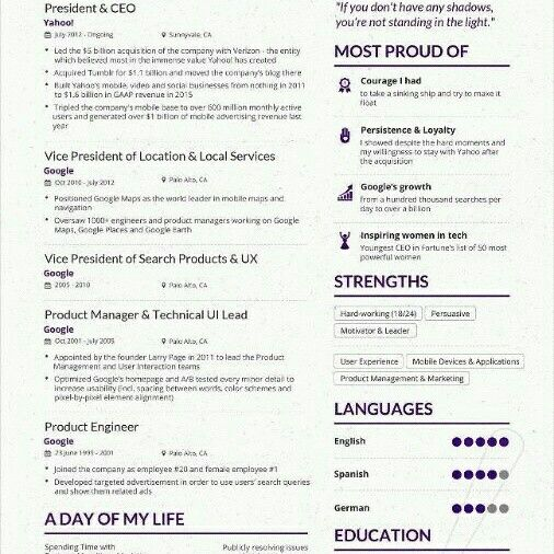 If Yahoo S Ceo Can Make A One Page Cv So You Can Customize Your Resume To Each Job You Apply And Put Rel Resume Writing Examples Marissa Mayer Visual Resume