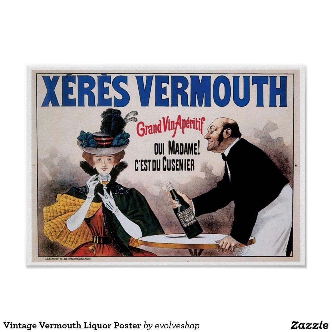 Vintage Vermouth Liquor Poster Étiquettes