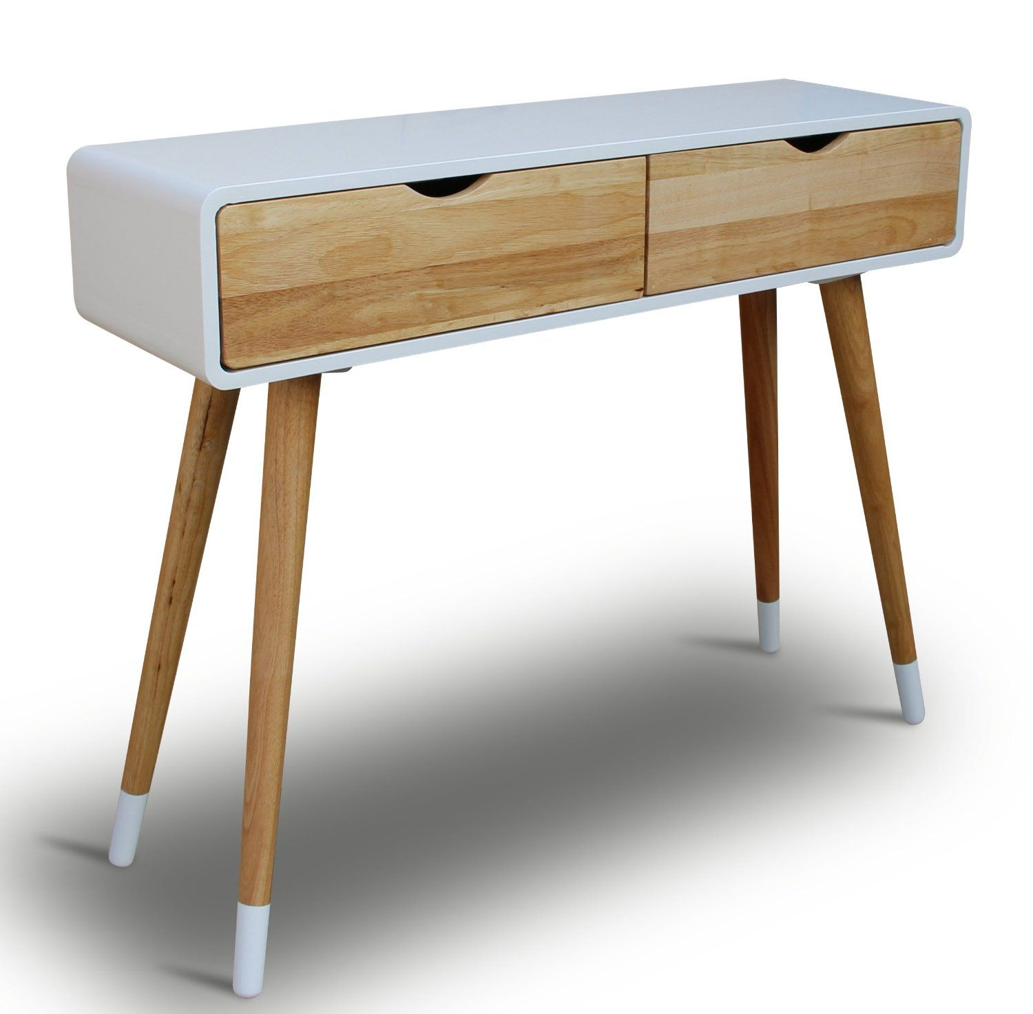 console en bois blanc 100 x 30 x 80 cm panneau d 39 appoint. Black Bedroom Furniture Sets. Home Design Ideas