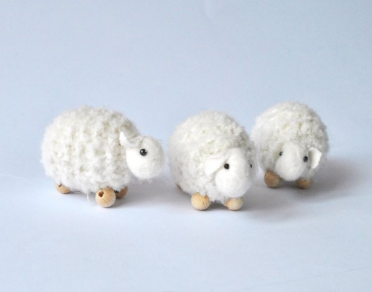 Crochet sheep white wool- 1 pcs, waldorf toys. Amigurumi. Fairy Forest animal toys for playscape.