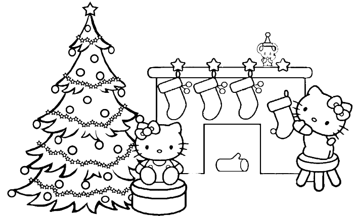 Two Hello Kitty Merry Christmas Coloring Page Christmas Coloring Pages Kidsdrawing Free Coloring Pages Online Hello Kitty Colouring Pages Hello Kitty Coloring Hello Kitty Christmas