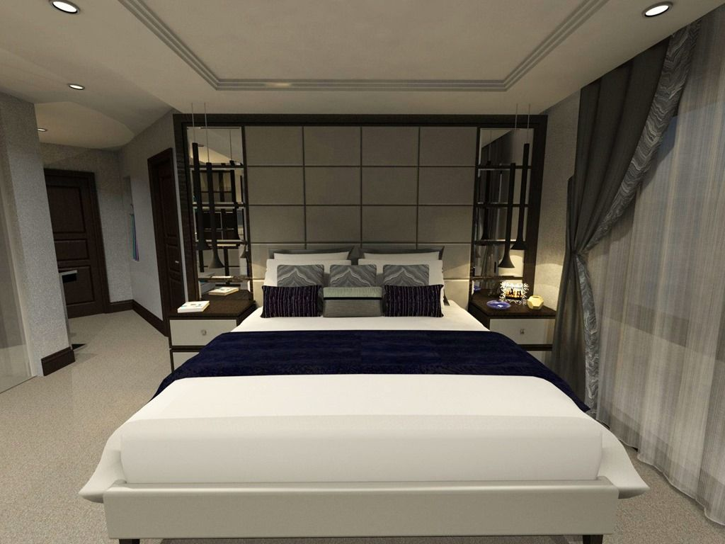 Calm Bedroom Interior With Hidden Ceiling Lights And White Platform Bed Also Mirror Headboard Design Also Do Headboard Designs Calming Bedroom Bedroom Interior