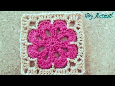 Quadradinho De Croche Para Iniciantes Youtube Granny Square Crochet Pattern Crochet Hexagon Granny Square Crochet