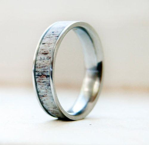 MENS TITANIUM WEDDING BAND WITH ANTLER INLAY available in titanium