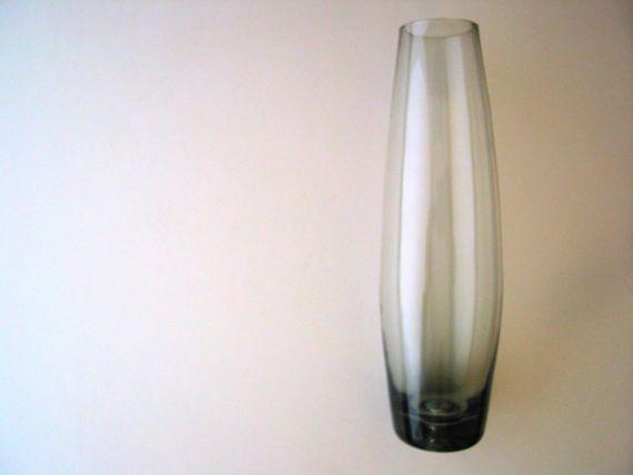 Smoked Glass Bud Vase Smokey Glass Vase Gray Glass Vase Gray