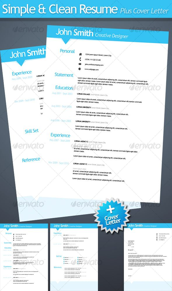 Simple Resumes That Work Impressive Simple And Clean Resume With Covering Letter  Resumes Stationery .