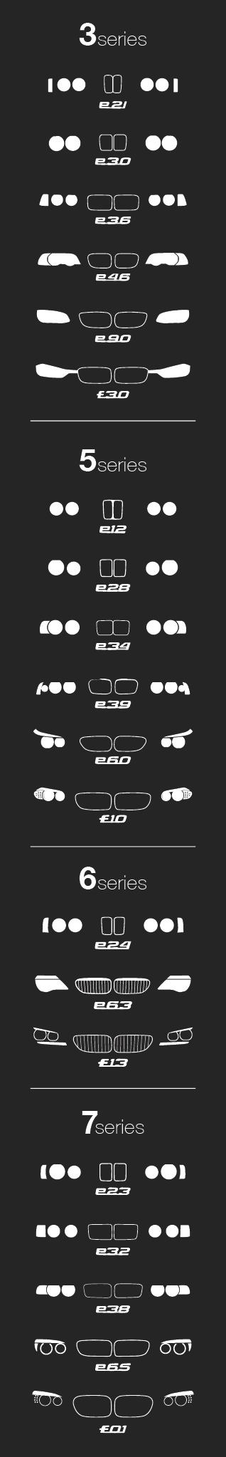 The Evolution of the BMW 3, 5, 6, and 7 Series' Headlight and Kidney Grill Design. Available as a shirt, poster, iPhone case and more. Featuring the e21, e30, e36, e46, e90, f30, e24, e63, f13, e23, e32, e38, e65, f01, e39, e60, f10, e61