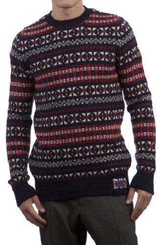 Hawick Knitwear Men's 100% British Wool Fairisle Crew Neck Sweater ...