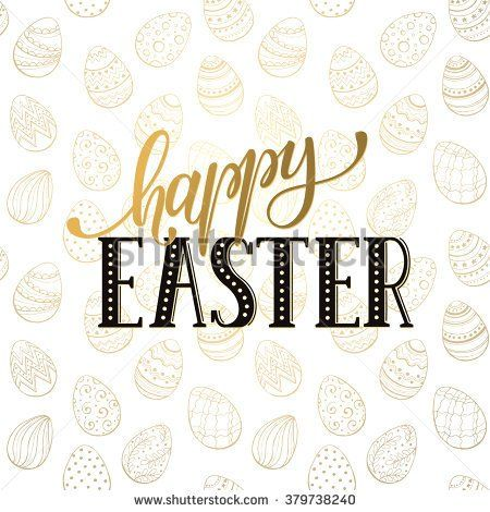 Happy Easter wording on golden background Easter greeting card