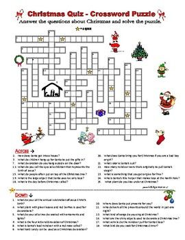 christmas quiz crossword puzzle question words definitions x mas englisch ab englische