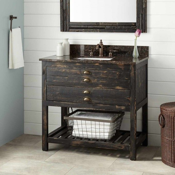 Antique Pine Bathroom Cabinet. 36 Benoist Reclaimed Wood Vanity For Rectangular Undermount Sink Antique Pine