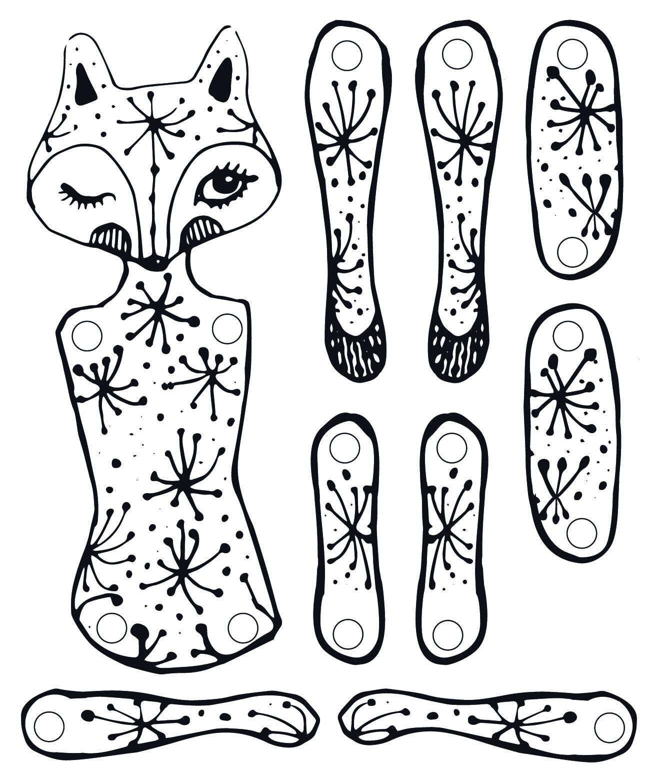 printable diy - coloring and moving paper doll