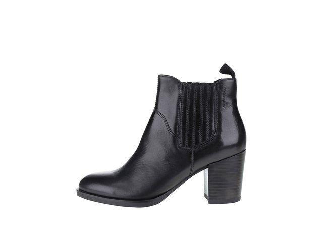 Černé dámské kožené kotníkové boty na podpatku Vagabond Ellie -