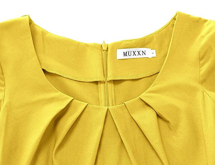 56acbaf75488c Amazon.com  MUXXN Women s 1950s Vintage Short Sleeve Pleated Pencil Dress   Clothing