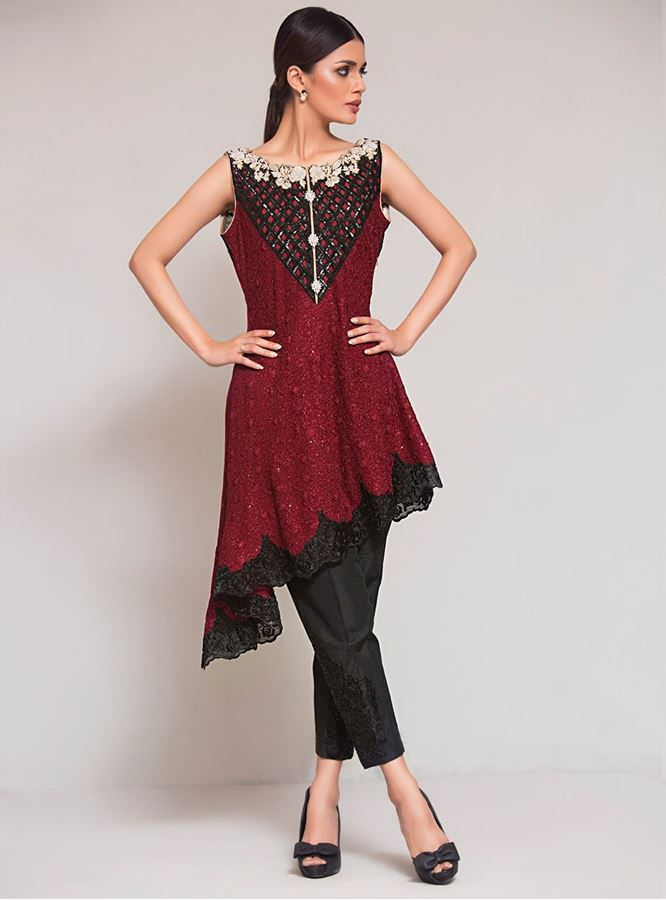 15db52a142 Latest Pakistani Short Frocks Peplum Tops Styles & Designs 2019-2020 ...