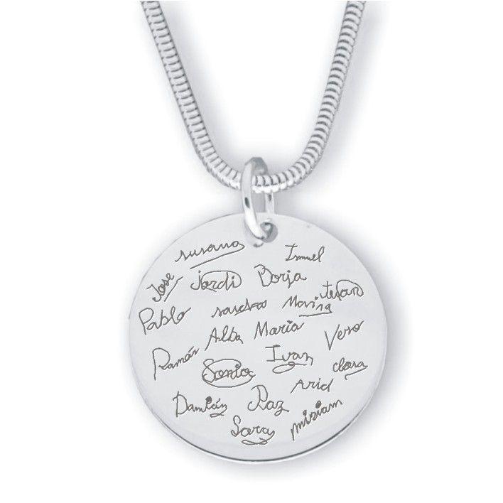dc939222c1e8 Colgante medalla placa grande plata grabada personalizada dibujos