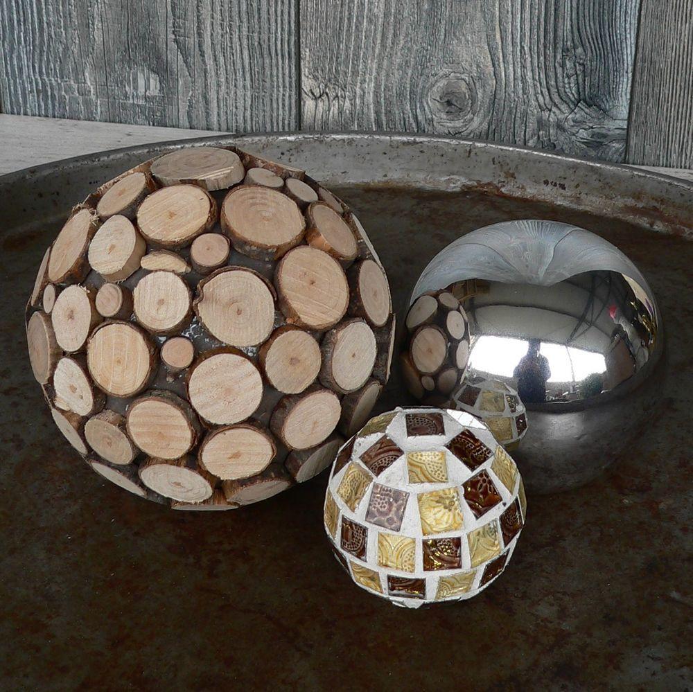 3er Set Deko Kugel Edelstahlkugel Gartenkugeln Holzkugel Mosaikkugel  Dekokugeln In Garten U0026 Terrasse, Dekoration,