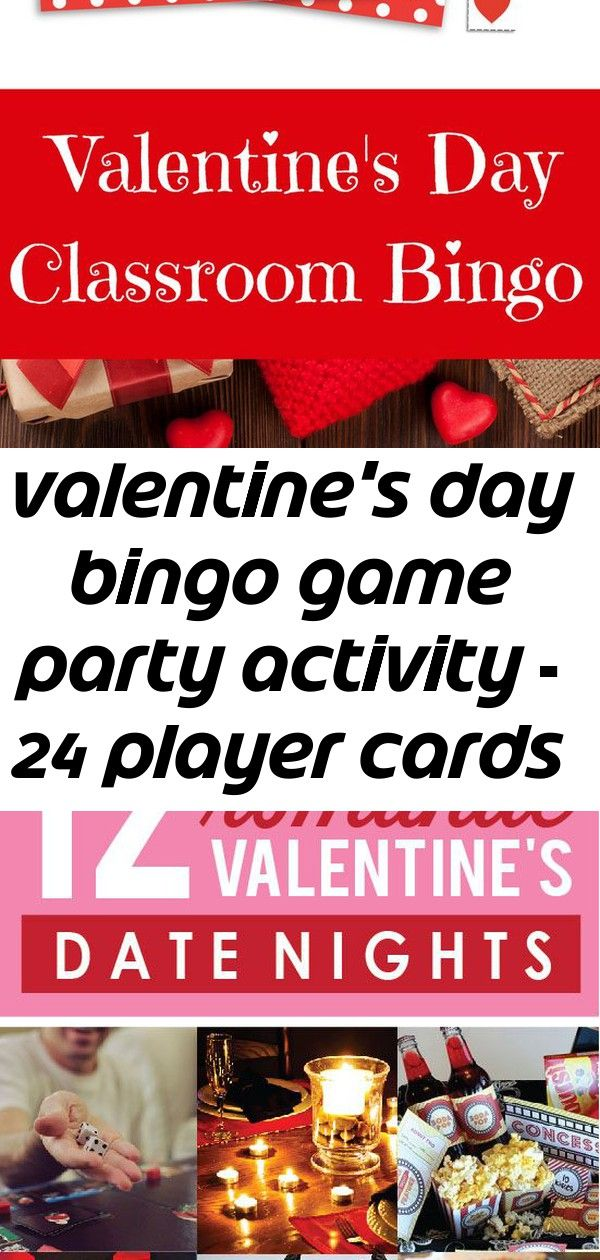 Valentine's day bingo game party activity – 24 player cards 2