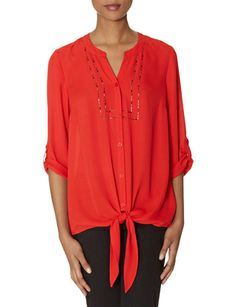 Beaded Tie-Front Blouse from THELIMITED.com #ItsTime #TheLimited