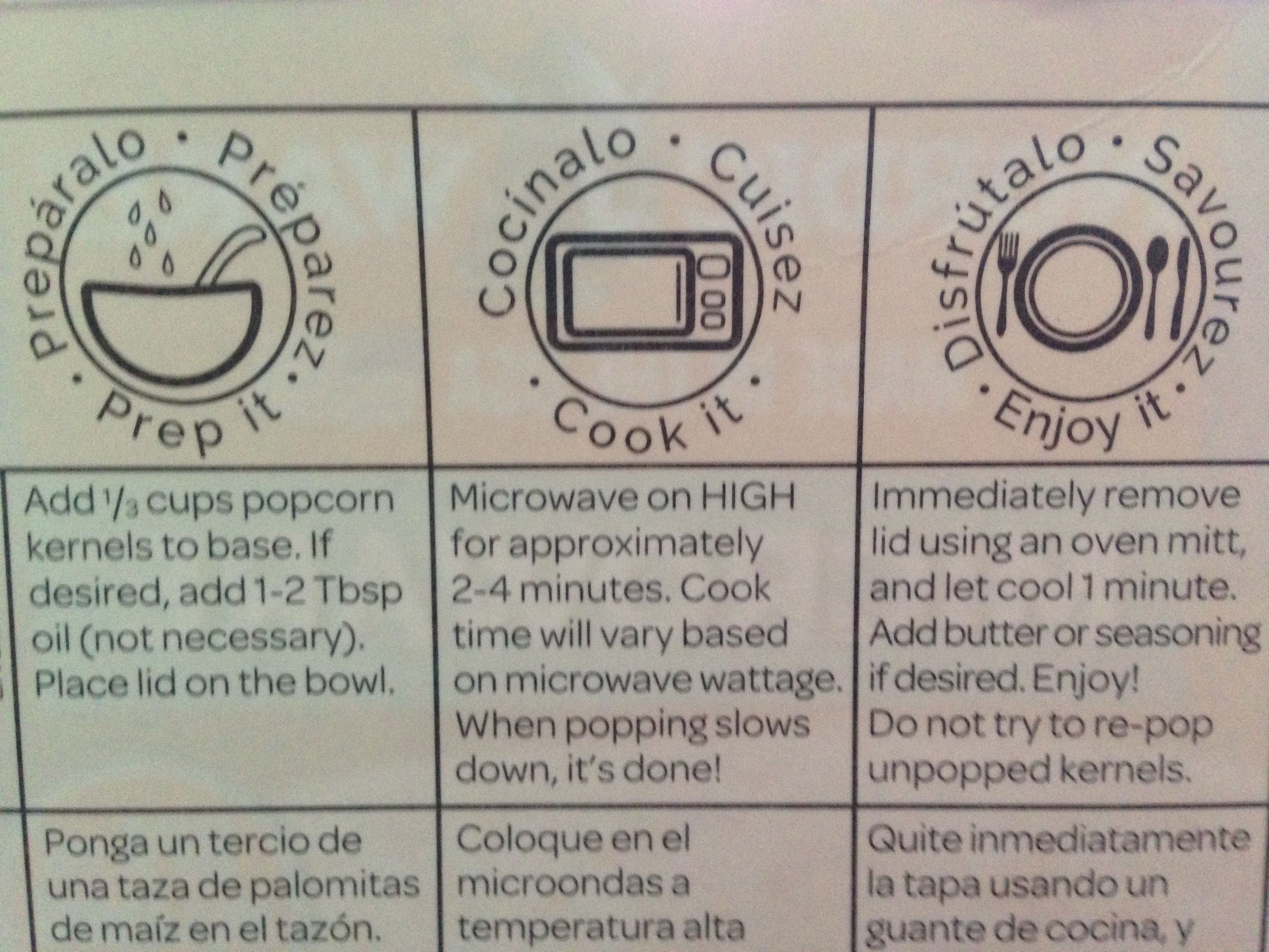 Directions For Using Nordic Ware Microwave Popcorn Popper