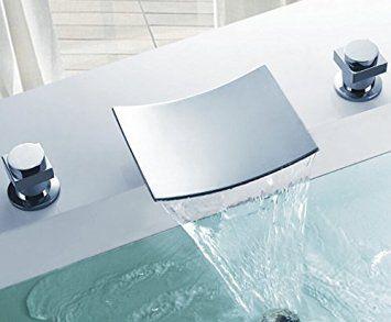 Flg Deck Mount Two Handle Widespread Waterfall Bathroom Bath Tub