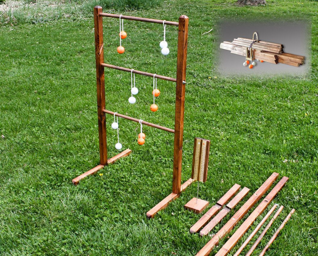 Outdoor Games Diy Ladder Toss You Can Take To The Park Backyard Games Diy Yard Games Diy Ladder