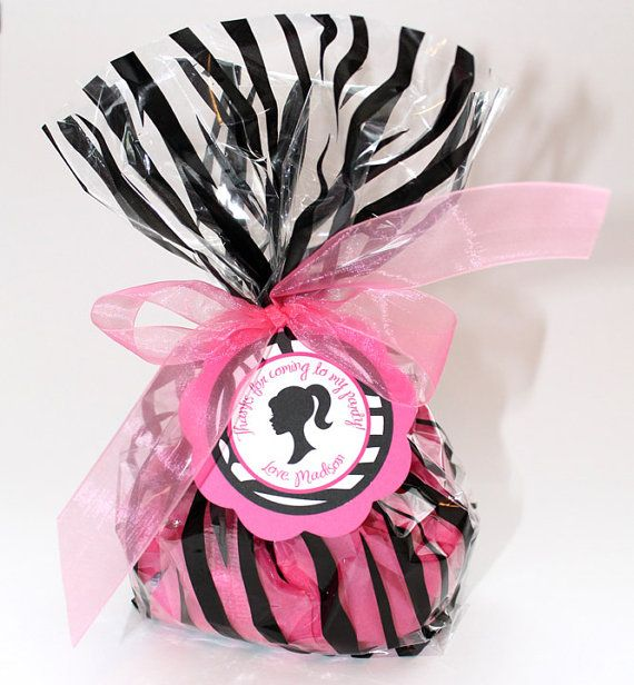 Barbie Zebra Theme 1st And 5th Birthday: 12 Zebra Bags And Tags