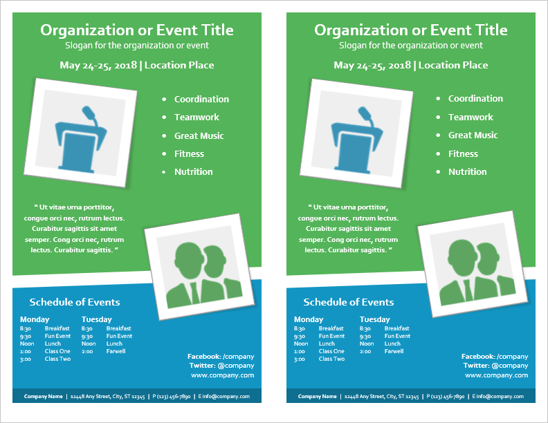 Event Flyer With MultiDay Schedule   Per Page By VertexCom