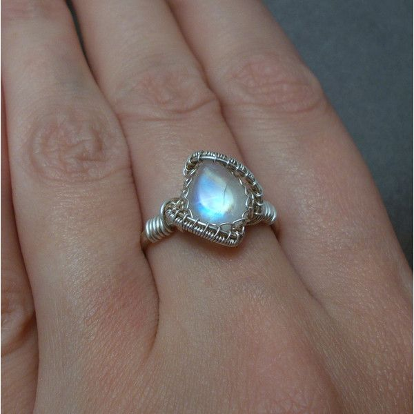 Moonstone ring,rainbow moonstone ring, silver moonstone ring, teardrop... ($46) ❤ liked on Polyvore featuring jewelry, rings, rainbow moonstone jewelry, silver rings, gemstone rings, white gemstone rings and wire wrapped rings