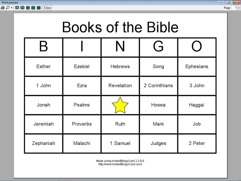 Image Detail For View Document  Books Of The Bible Bingo Cards