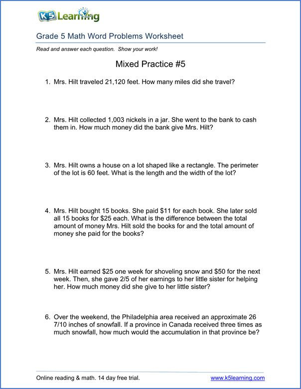 5th grade word problem worksheets free and printable ...
