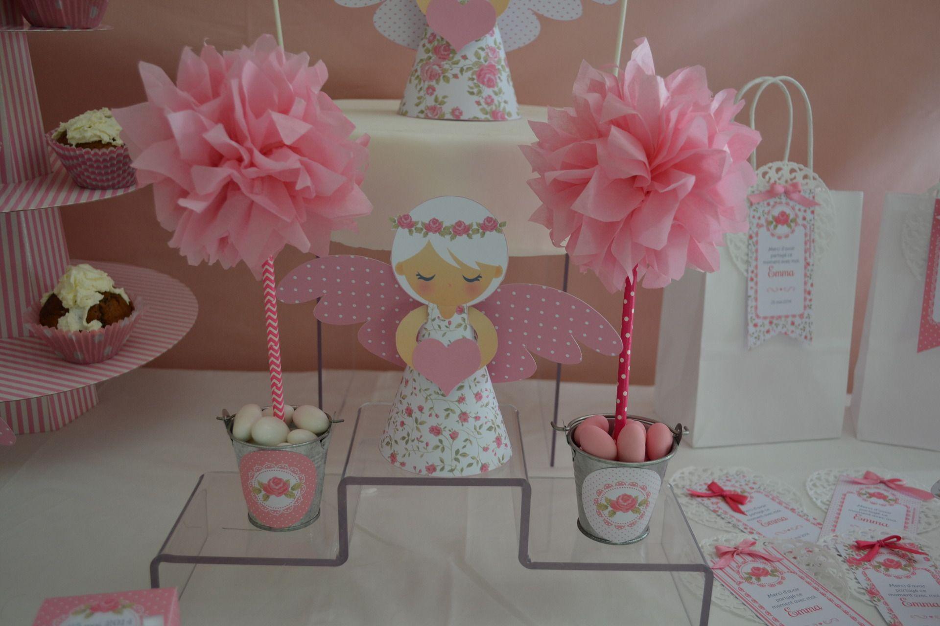 Décoration pour table ou candy bar , Arbre Rose en papier de soie , Thème  Ange