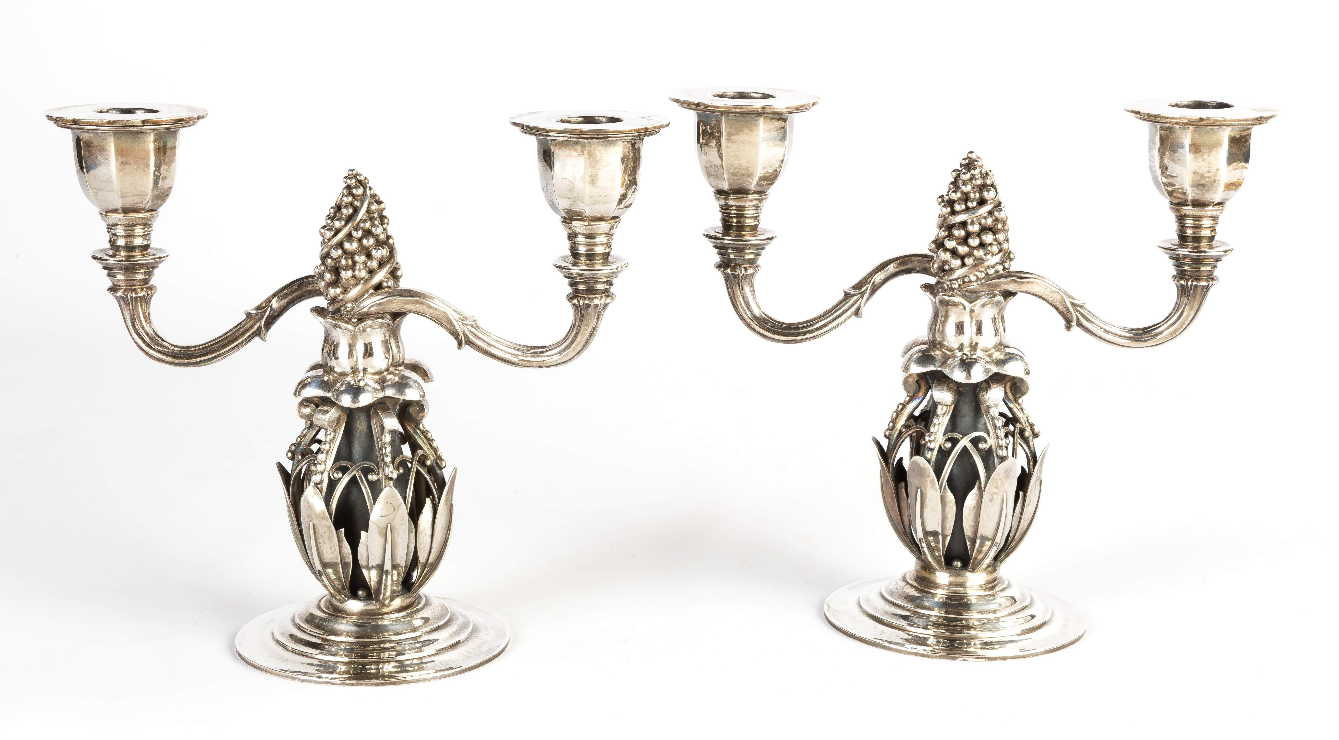 Early Georg Jensen Pair Of Sterling Silver Candlesticks Cottone Auctions