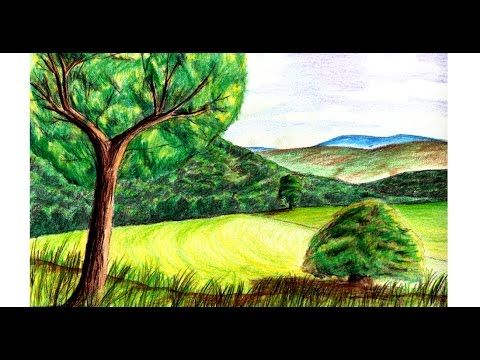 How to paint a realistic landscape with colored pencil fine art with ch