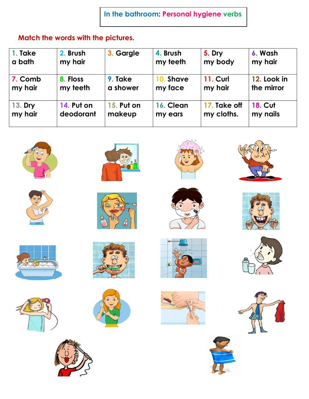 The Bathroom Personal Hygiene Verbs Interactive