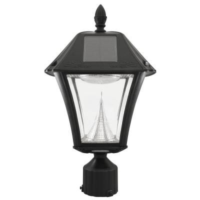 8b7f46156b4 Gama Sonic Baytown II Outdoor Black Resin Solar Post Light with 10 Warm  White LED and 3 in. Fitter Mount-GS-105F-WW - The Home Depot