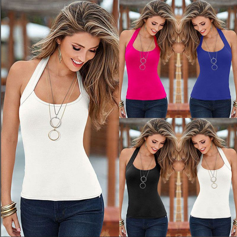0d1502cb Sleeveless O-neck Slim Women Summer Tops 2016 New Europe And America Style  Casual Fashion Simple All-match Slim T-shirts