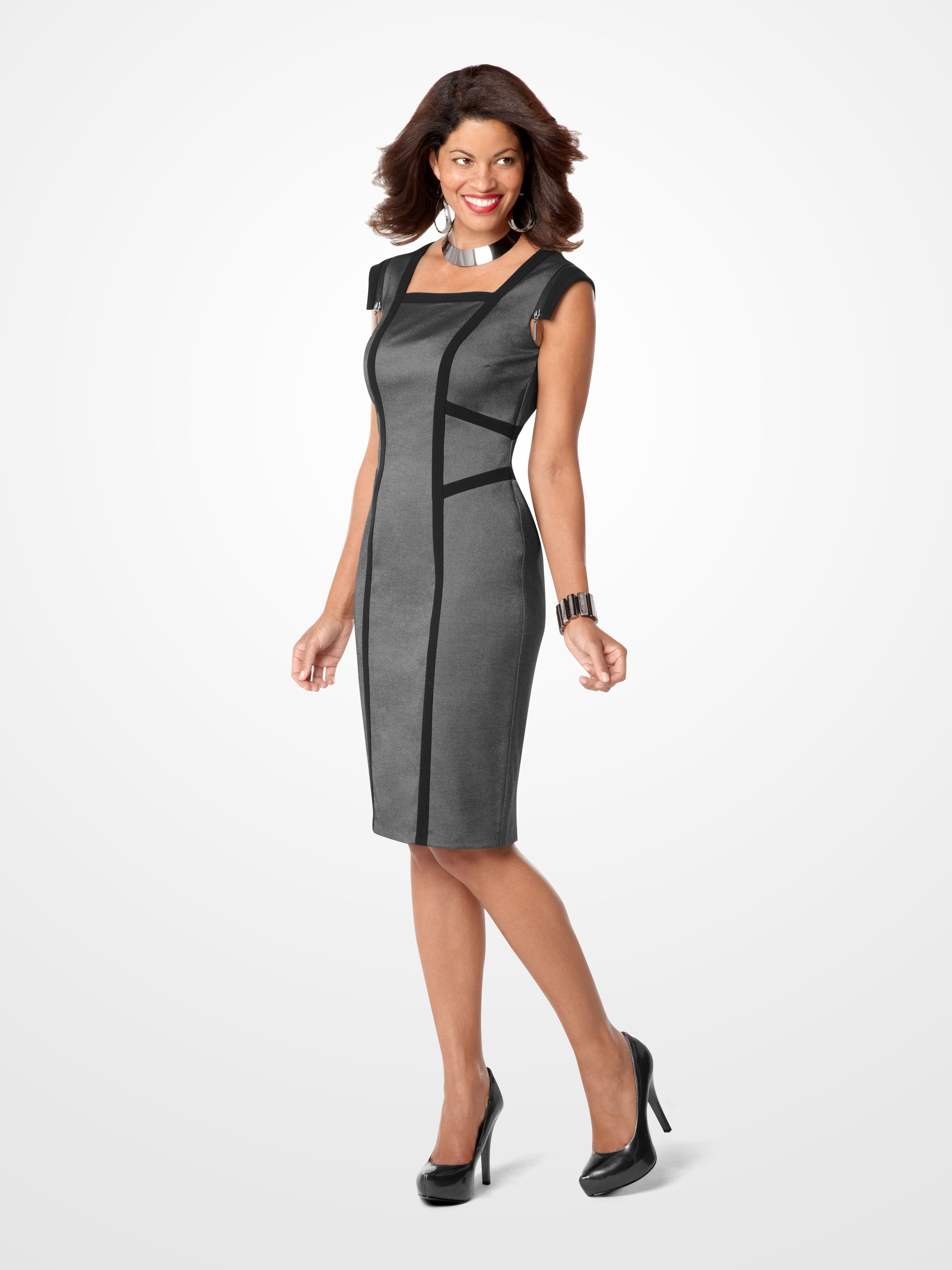 Dress up a Gray and Black Colorblock Zipper Dress with a Celebrity Edition Hematite Cuff Necklace SteveHarvey Fashion