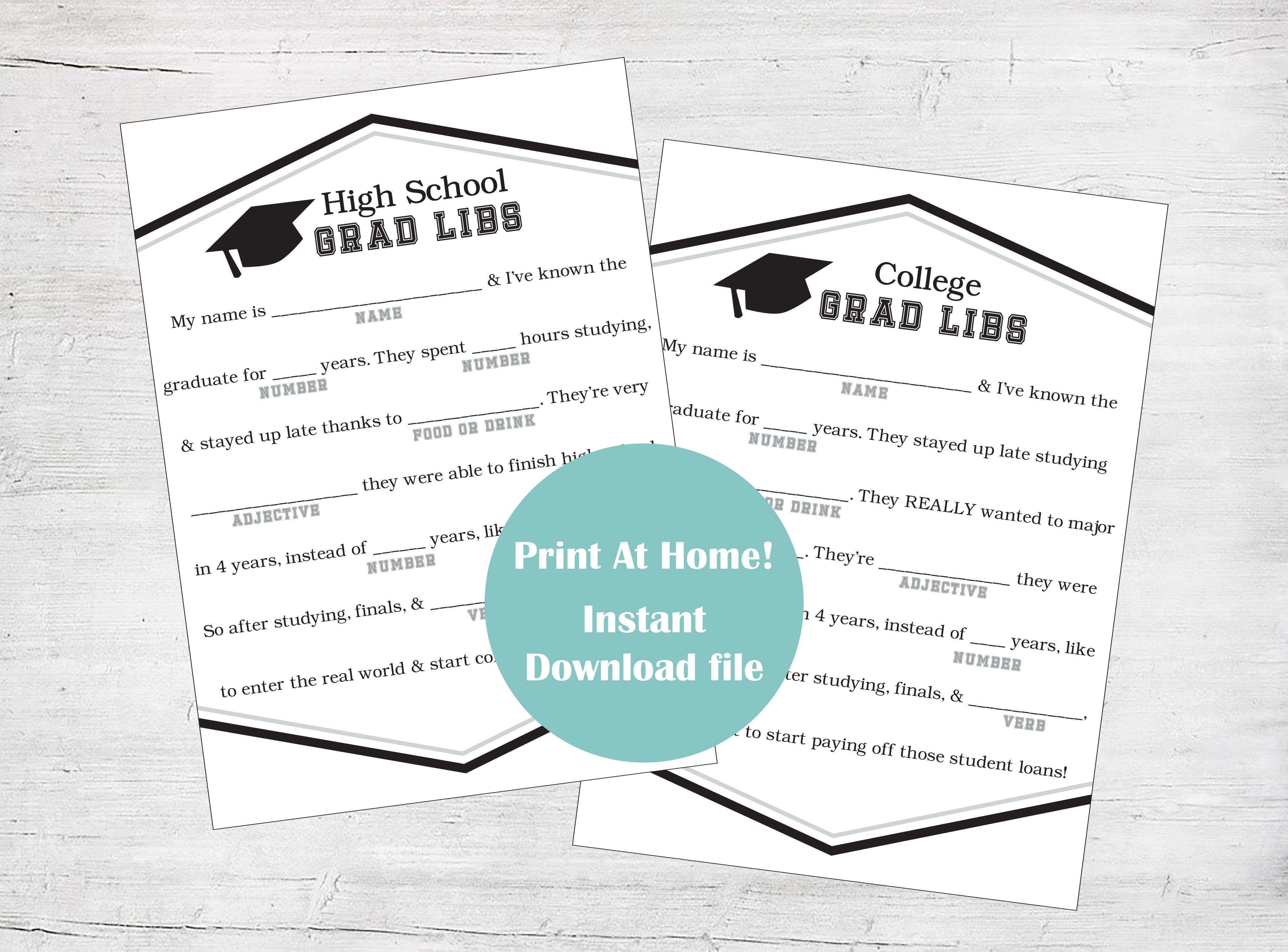 Graduation Mad Lib Graduation Ad Lib Graduation Advice