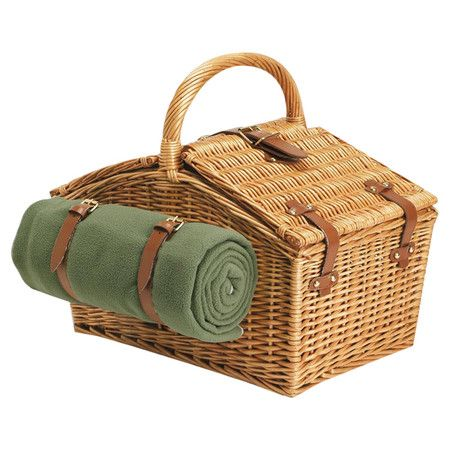 Woven willow picnic basket. Includes a fleece blanket and insulated corduroy duffle with 2 wine glasses and deluxe service for 2. ...
